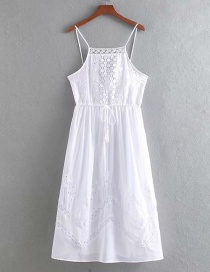 Fashion White Embroidered Open Back Strap Dress