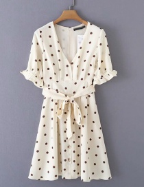 Fashion Cream Color Polka Dot Printed V-neck Sleeve Tie Lace Dress