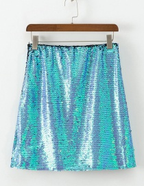 Fashion Blue Sequined Stitching Skirt