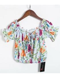 Fashion Blue One Shoulder Short Floral Print Waist Tie Shirt