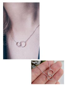 Fashion Steel Color Double Ring Stainless Steel Necklace