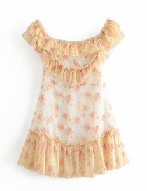 Fashion Yellow + White One-word Collar Color Matching Love Print Ruffled Dress