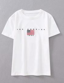 Fashion White Embroidered Flag T-shirt