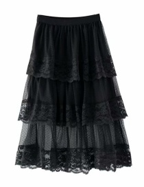Fashion Black High-waist Stitching Lace Half-length Cake Skirt
