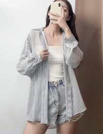 Fashion Black And White Striped Lapel Shirt