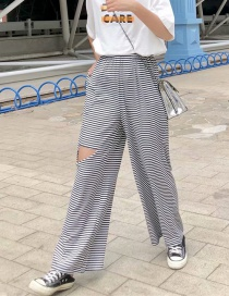 Fashion Black And White Front And Rear Hole Striped Knit Pants