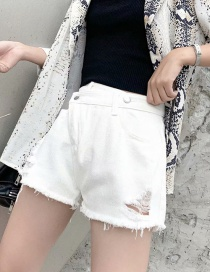 Fashion White Washed Diagonal Buckled Denim Shorts