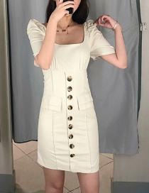 Fashion White Single Breasted Dress