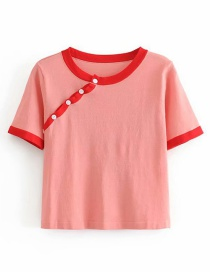 Fashion Red Button Contrast Knit T-shirt