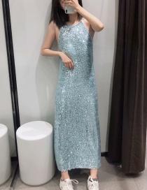 Fashion Blue Beaded Halter Collar Dress