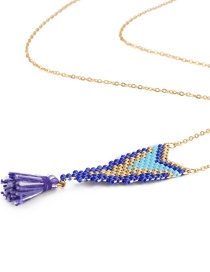 Fashion Purple Rice Beads Woven Geometric Pattern Tassel Necklace