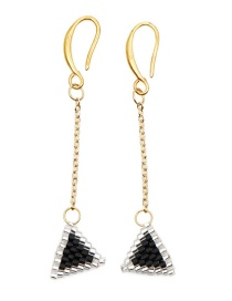 Fashion Black Rice Beads Woven Triangle Earrings