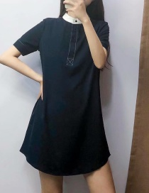Fashion Navy Colorblock Dress