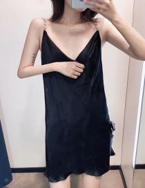 Fashion Black Strap V-neck Halter Dress