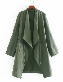 Fashion Green Lapel Drawstring Trench Coat
