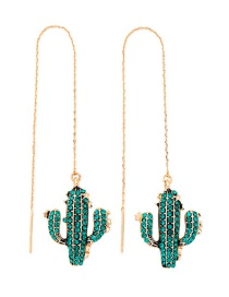 Green  Silver Needle Cactus With Diamond Earrings