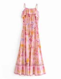Fashion Pink Printed Waist Elastic Fringe Suspender Dress
