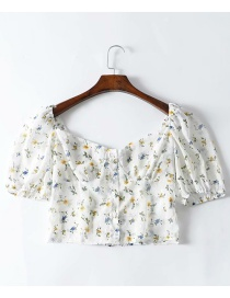 Fashion White Flower Print Short Shirt