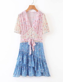Fashion Pink + Blue Floral Print Colorblock Ruffle Dress