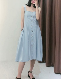 Fashion Light Blue Washed Sling Single-breasted Denim Dress
