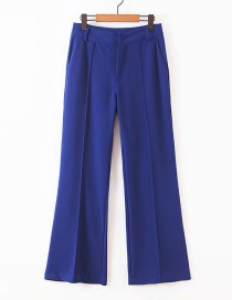 Fashion Blue Solid Color Straight Pants