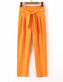 Fashion Orange Strap Straight Pants