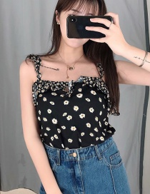 Fashion Black Wrinkled Spotted Sling Flower Print Vest