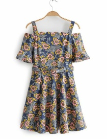 Fashion Blue Floral Print Collar Tie Dress