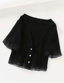 Fashion Black Ribbed Knit V-neck Button Short Lace-trimmed T-shirt