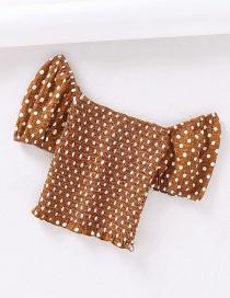 Fashion Caramel Colour One Shoulder Pull Wrinkled Shirt