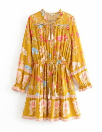 Fashion Yellow Printed Ruffled Openwork Dress