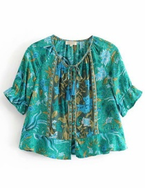 Fashion Green Phoenix Bird Print Puff Sleeve Shirt