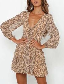 Fashion Yellow Flower Print V-neck Lace Dress