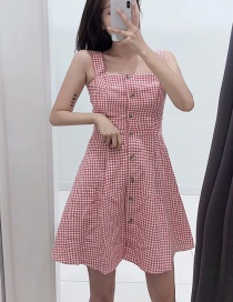 Fashion Pink Plaid One-strap Sling Backless Dress