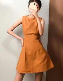 Fashion Ginger Yellow Lodging Round Neck Dress