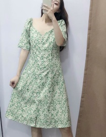 Fashion Green Square Collar Flower Print Single Breasted Dress