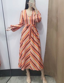 Fashion Orange Striped V-neck Lace Dress