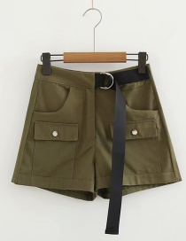 Fashion Army Green Double Pocket Tooling Stitching Shorts