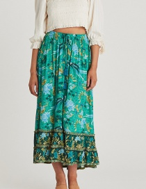 Fashion Green Cotton Printed Double-layer Lace Skirt