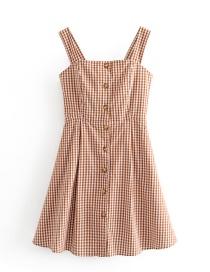 Fashion Caramel Colour Checkered Row Of Suspender Dresses