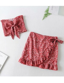 Fashion Red Ruffled Printed Tie Knot Set