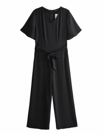 Fashion Black V-necked Flying Sleeves With Jumpsuit