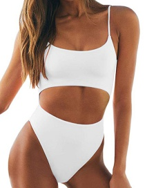 Fashion White Open Back Strap Bandage One-piece Swimsuit