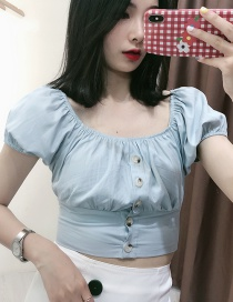 Fashion Light Blue Button Round Neck Denim Top
