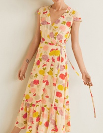 Fashion Yellow Flower Print High Waist Lace V-neck Dress