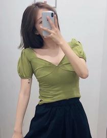 Fashion Mustard Green V-neck Puff Sleeve Short-sleeved T-shirt