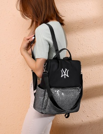Fashion Black Oxford Cloth Contrast Embroidered Backpack
