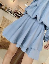 Fashion Blue Irregular Skirt