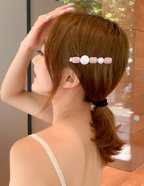 Fashion Bean Paste Pink Irregular Geometric Resin Hairpin