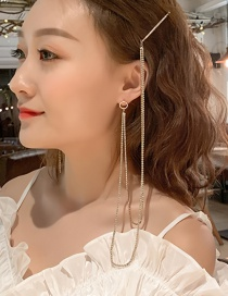 Fashion Gold Tassel Ear Clip Hairpin Integrated Chain